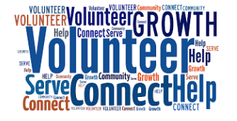 Word cloud with volunteer, growth, help, connect, community