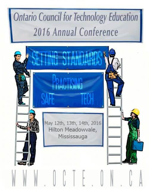 drawing of four people on ladders putting up a banner with the 2016 OCTE conference title